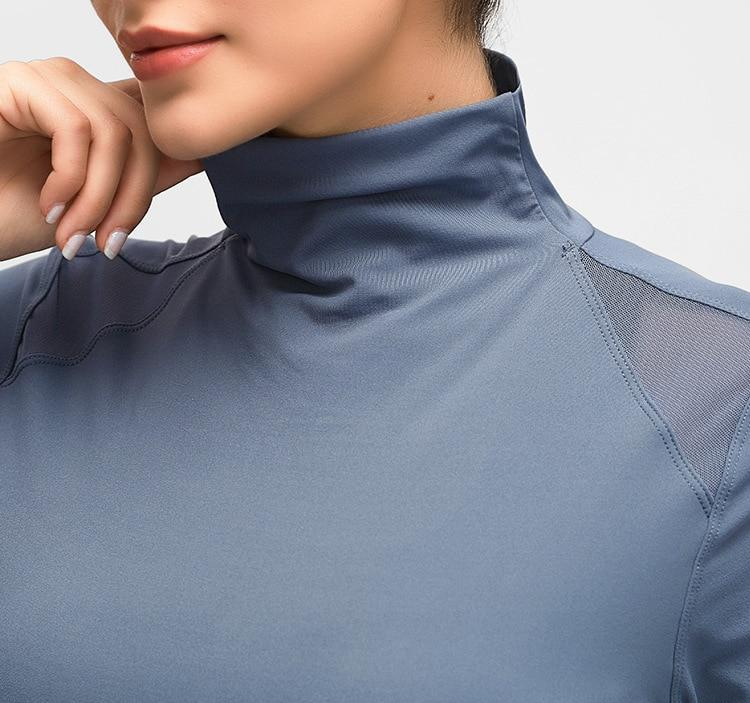 Blue Turtle Neck Long Sleeve Top Tops Mindfulness-HOP Activewear