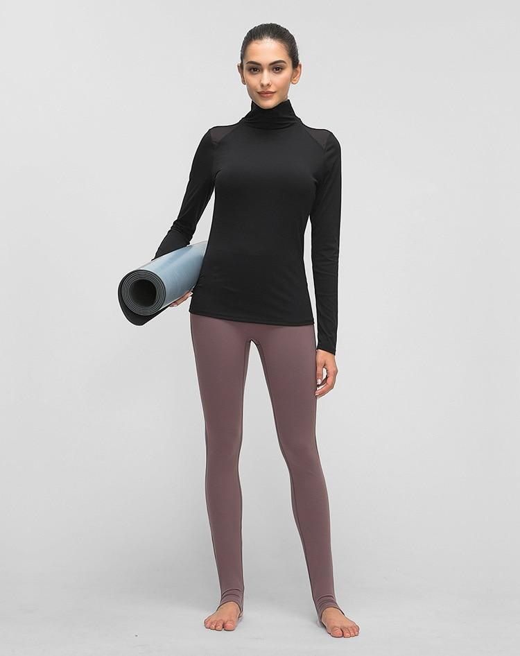Black Turtle Neck Long Sleeve Top Tops Mindfulness-HOP Activewear