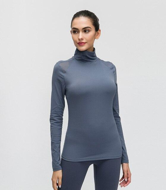 Blue Turtle Neck Long Sleeve Top Tops Mindfulness-HOP Activewear Gray blue S