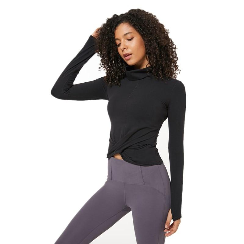 Black Wrap Long Sleeve Top Tops Mindfulness-HOP