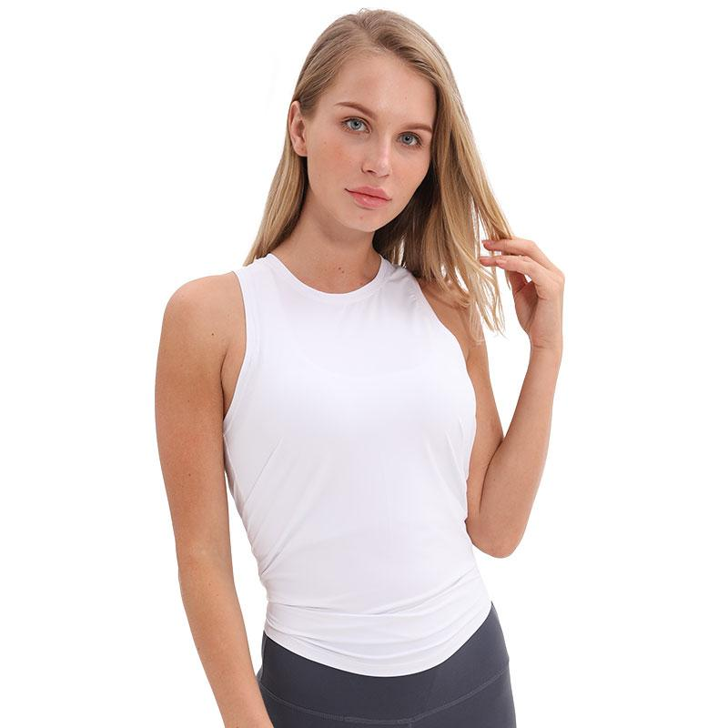 white Asana Sleeveless Top Tops Mindfulness-HOP