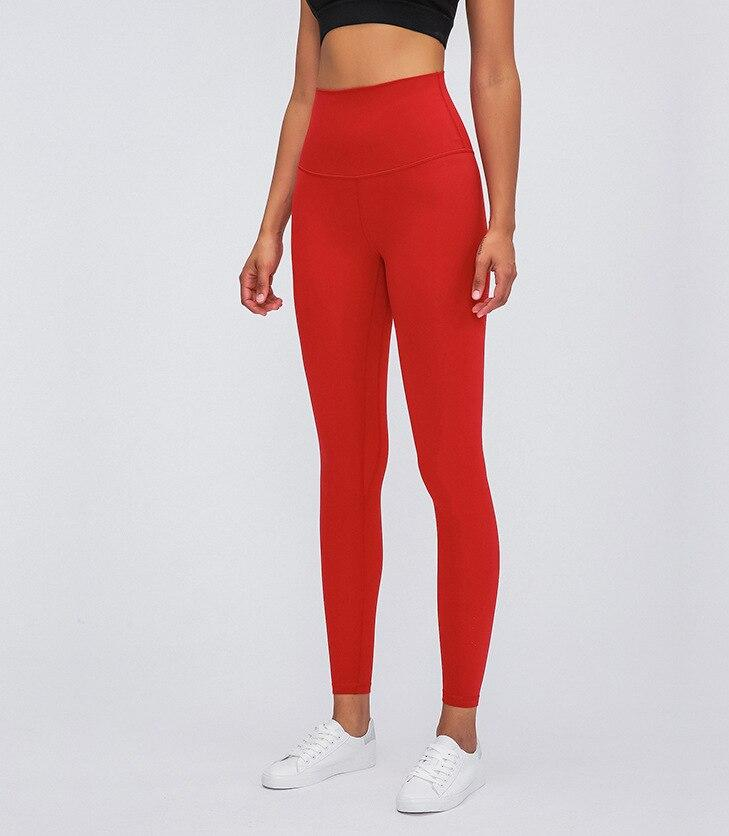 Red Super High Waist Rythm Leggings Yoga Pants Mindfulness-HOP