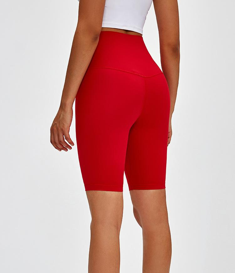 Red Mantra Super High Waist Biker Shorts bikers Mindfulness-HOP Activewear