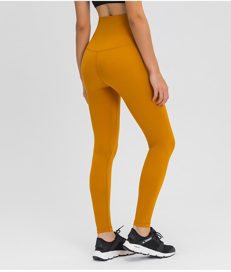 Golden Wheat Brown Dosha Full Length High Waist Leggings Yoga Pants Mindfulness-HOP Golden Wheat Brown 2-XXS