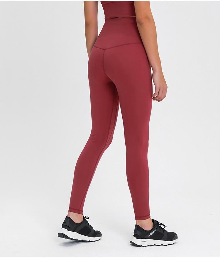 Deep Crimson Red Dosha Full Length High Waist Leggings Yoga Pants Mindfulness-HOP Deep Crimson 10-L