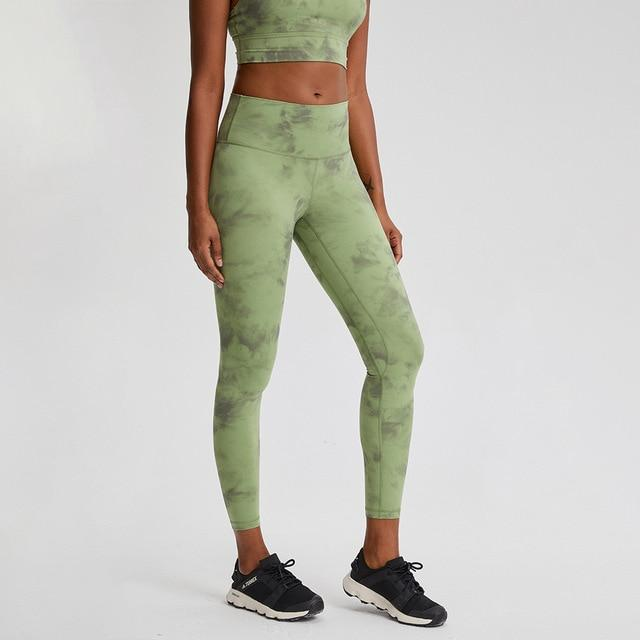 Green Tie Dye Max High Waist Leggings Yoga pants Mindfulness-HOP Activewear Tie Dye Green Size4-XS