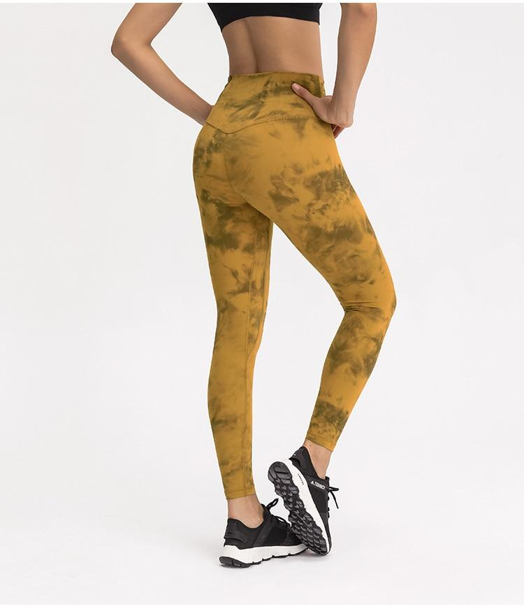 Yellow Tie Dye Max High Waist Leggings Yoga pants Mindfulness-HOP Activewear