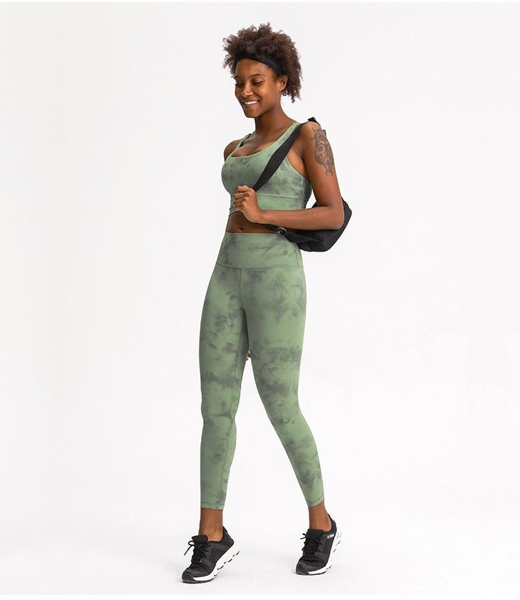 Green Tie Dye Max High Waist Leggings Yoga pants Mindfulness-HOP Activewear