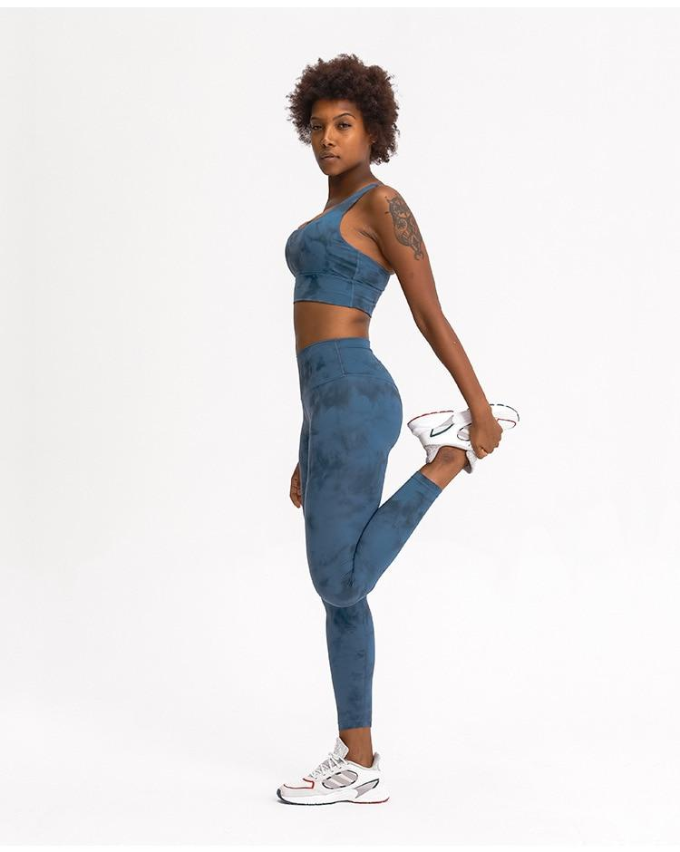 Blue Tie Dye Max High Waist Leggings Yoga pants Mindfulness-HOP Activewear
