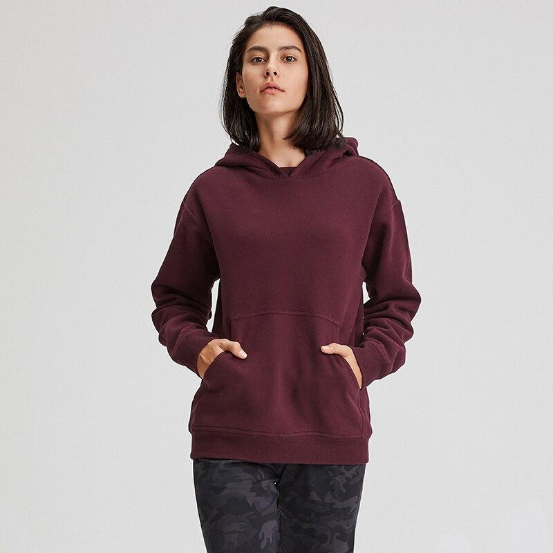 Wine Red Cozy Fleece Long Sleeve Hoodie Hoodies Mindfulness-HOP Activewear
