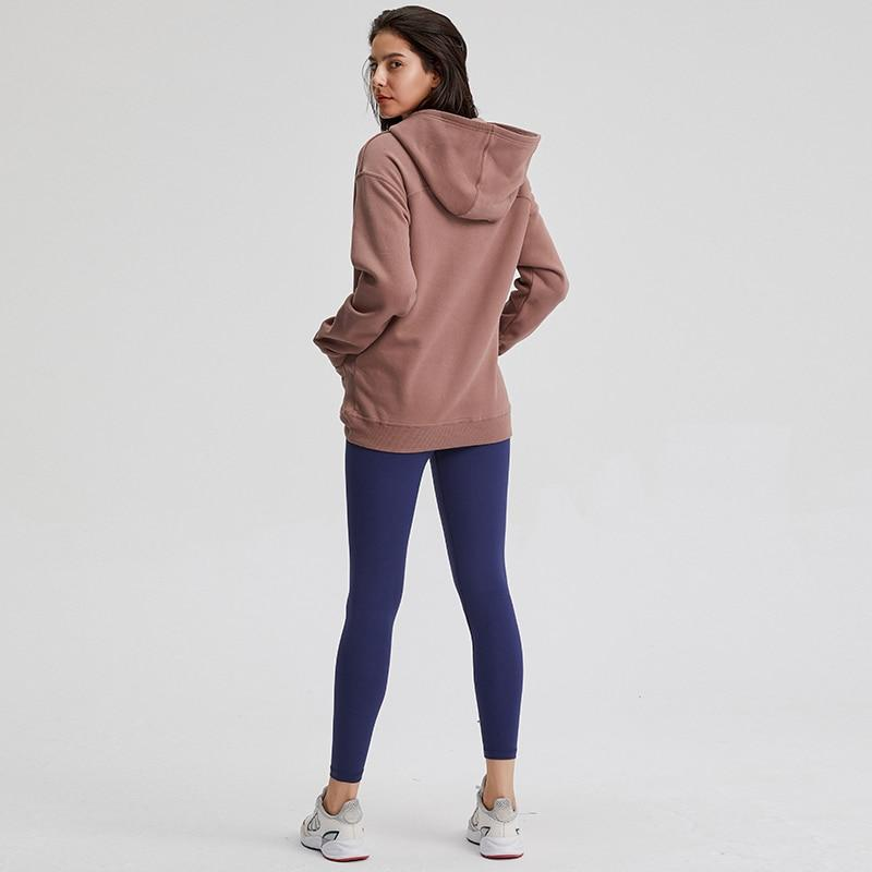Amber Brown Cozy Fleece Long Sleeve Hoodie Hoodies Mindfulness-HOP Activewear