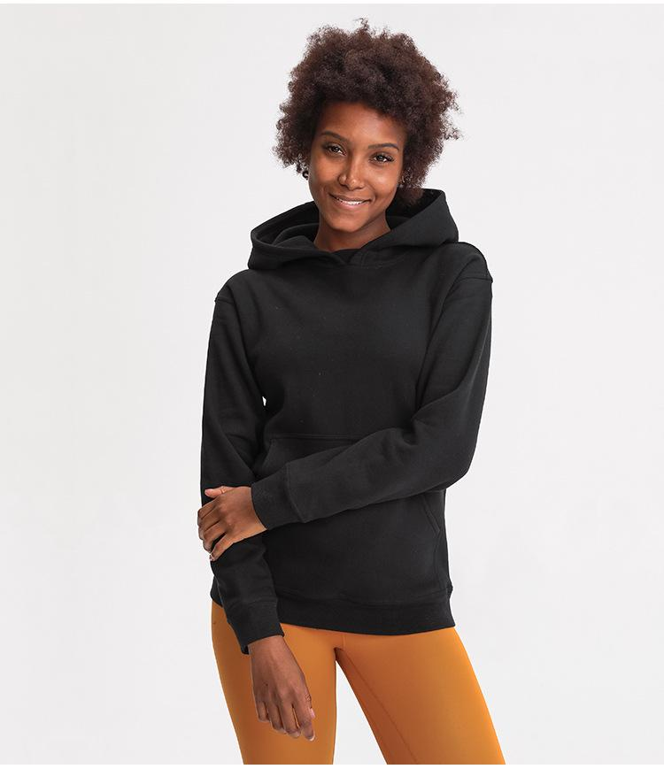 Black Cozy Fleece Long Sleeve Hoodie Hoodies Mindfulness-HOP Activewear