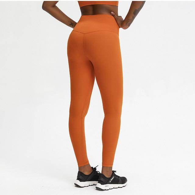 Orange Rythm High Waist Leggings Yoga pants Mindfulness-HOP Activewear Red Orange XS