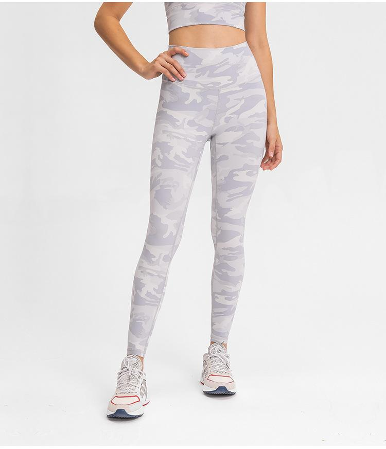 White Camo High Waist Leggings Yoga pants Mindfulness-HOP Activewear