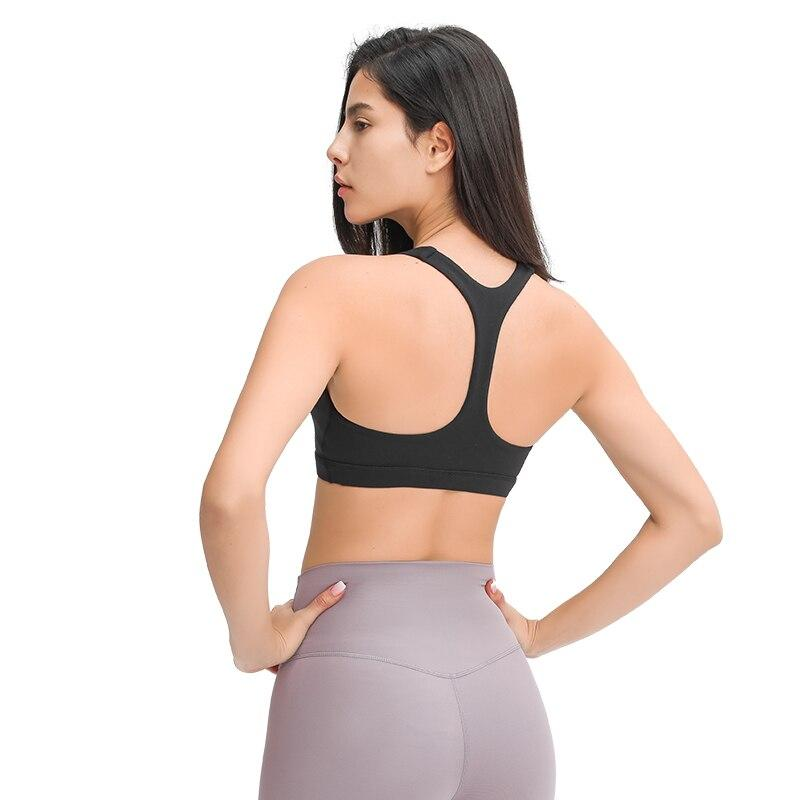 Black Shanti V Neck Racerback Sports Bra bras Mindfulness-HOP Activewear
