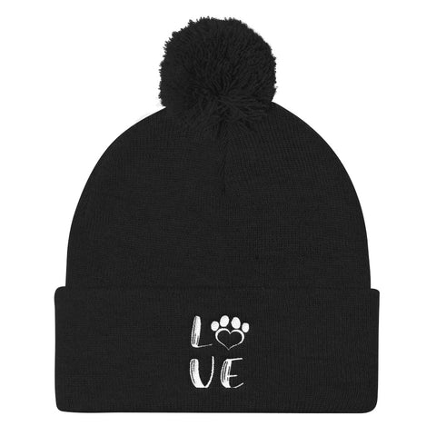 Black LOVE DOG Pom Pom Knit Cap