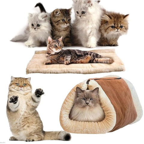 Pet Cat Comfortable Bed Snooze Tunnel Mat Winter Warm Cats Dogs Blanket Kennel Crate Cage Shack House 2017ing