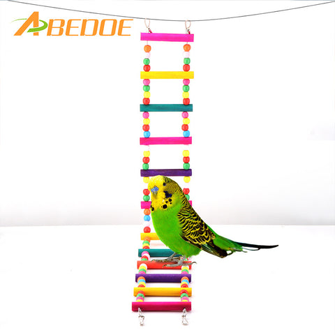 ABEDOE Bird Swing Wooden Bridge Bird Climb Ladder Pet Hanging Toy for Cockatiel Parakeet Budgie Parrot