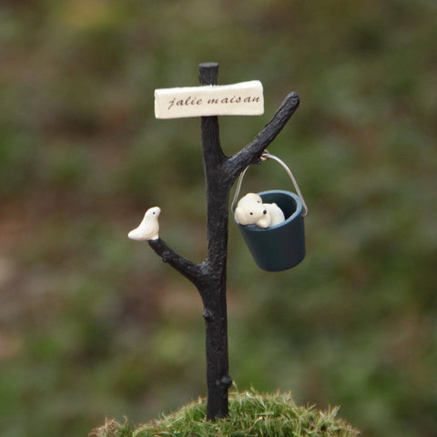 Puppy & Bird Garden Ornament Micro Landscape Decor