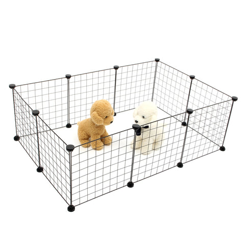Pet Dogs Playpen Crate Fence Foldable Puppy Kennel House Exercise Training Cage 10 Panels Puppy Kitten Space Dog Supplies Black