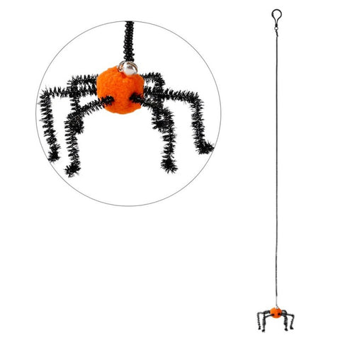 Pet Cat Supplies,Pet Halloween Cat Toy,Pet Small Ball With Bells and Spring,Playing Rope,Orange