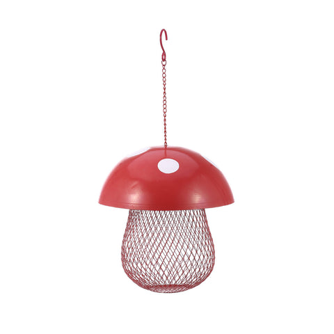 Mushroom-shaped Bird Feeder Wild Bird Seed Feeder Outdoor Decorative Garden Metal Hanging Food Mesh House