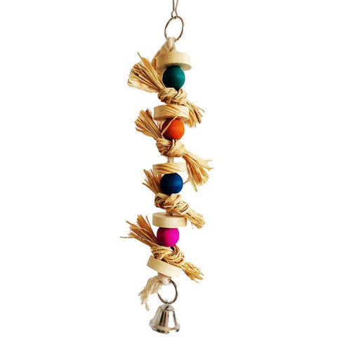 Bird toy Parakeet Natural Wood&Straw Chewing Toy Parrot Bird Cage Swing Bites Ball Playing Pet Birds Supplies