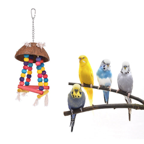 Color Bird Perch Parrot Hanging Swing Chew Toy Coconut Wood Bird Cage Accessories Toys Stand for Parrots