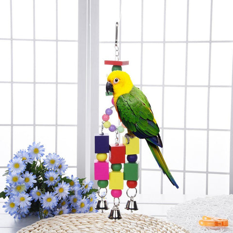 Colorful Bird Toys Hanging Bell Wooden Toys Bird Cage Hammock Swing Hanging Toy for Small Birds Supplies