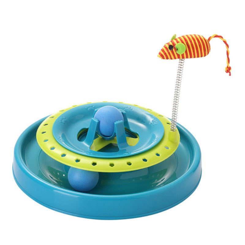 Cat double turntable pet puzzle rides track Eduactional Dog Amusement Plate Mouse Cat Toys Cat Turntable Pet Interactive Toys