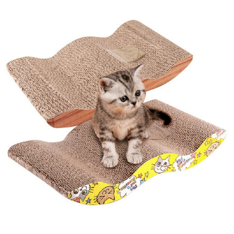 Pet Cat Kitten Corrugated Scratch Board Pad Scratcher Bed Mat Claws Care Interactive Toy For Cat Training Cat Toy + Catnip