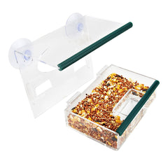 Transparent Window Bird Feeder Large Bird Feeder Removable Tray With Drain Holes Super Strong Suction Cups