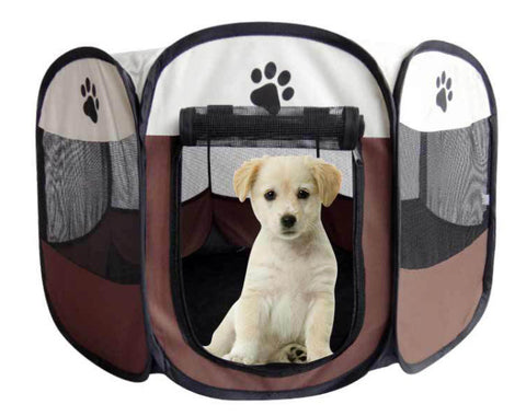 PAWING Portable Folding Pet tent Dog House Cage Dog Cat Tent Playpen Puppy Kennel Easy Operation Octagonal Fence Crate Doghouse