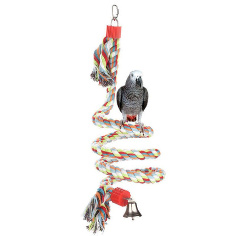 Parrot Bird Toys Pet Bird Parrot Standing Rope Bird Cage Decoration Climbing Toy Parrot Bird Cage Toys Rope Bell