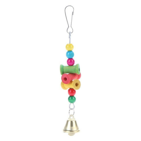 Cute Pet Birds Toys Hanging Wooden Parrot Bite Chew Toys Decorative Hanging Ornament Toys with Bell For Bird Nest Bird Supplies