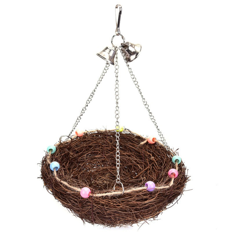 Rattan Bird's Nest Toy Horses for Bird Goods Parrots Play Bite Raise Bird Swings Toy Horses Bird Cage Accessories