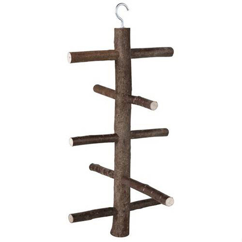 Pet Bird Parrot Natural Wood Hook on Bird Ladder Climbing Frame(Size:15.5*26.3cm)