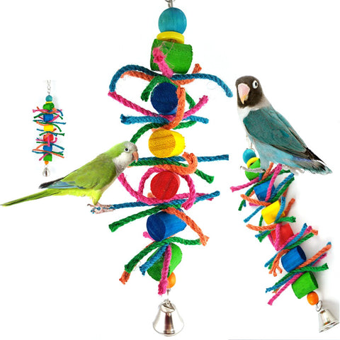 Bird Parrot Toy Colored Wooden Block Hemp Rope Toy