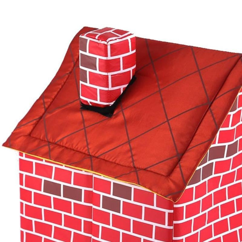 Portable Brick Dog House Warm and Cozy for Small Dog (color:red)