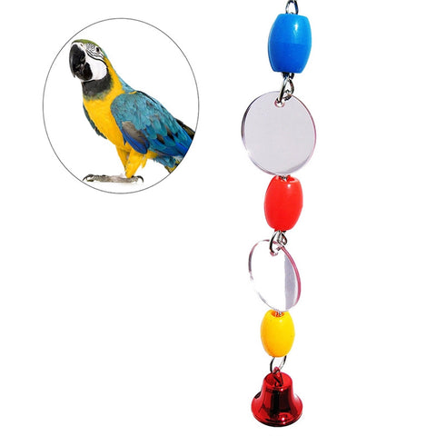 Fancy Mirror Bird Parrot Chew Toys Bird Cage Hanging Ornament