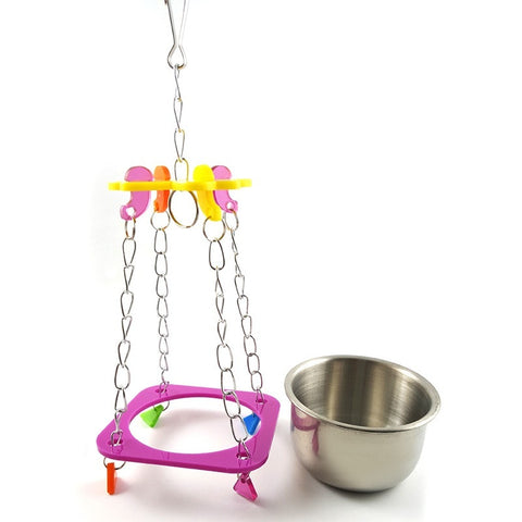 Fashion Bird Hanging Bowl Parrot Chew Toys Stainless Steel Bowl Toy Pet Bird Supplies