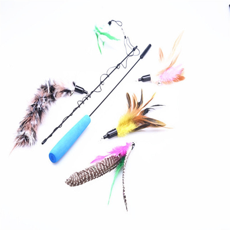 Cat Teaser Interactive Toy Wand with 5 Feather Head for Cat Playing