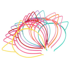 10pcs Cat Ear Headband Plastic Cat Hairband Cat Bow Hairbands Makeup Party Headwear for Women Girls