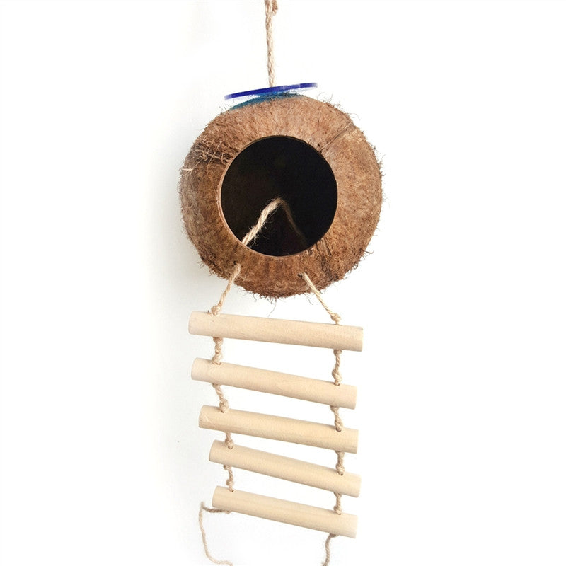 Bird Nest Coconut Shell Nest Natural Coco Hideaway with Ladder Bird Toy For Parakeets Budgerigar And Small Pet