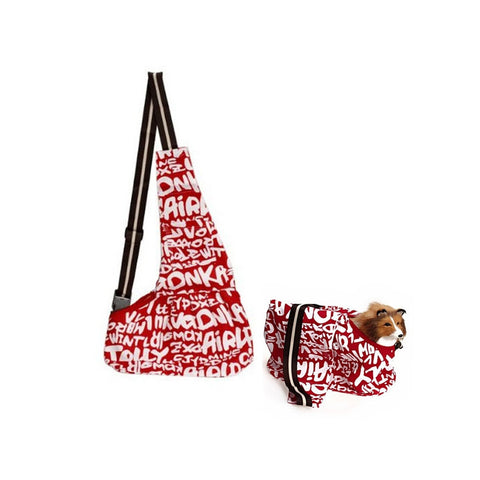 Durable English Letters Printed Oxford Cloth Single-shoulder Sling Bag Pet Dog Cat Carrier Bag - Size L (Red+White)