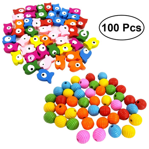 100 Pcs Parrot Bird Toy Multicolor DIY Accessories Wood Blocks Building Blocks Interactive Toys Bird Supplies