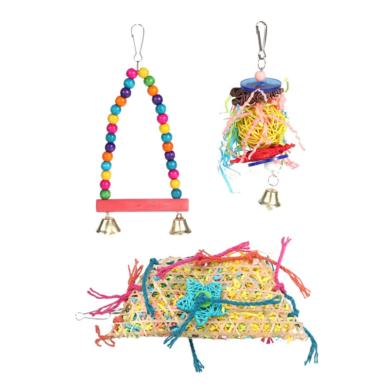 3Pcs Parrot Toys Colorful Pet Birds Chewing Toys Ladders Bird Cage Hanging Ornaments Accessories