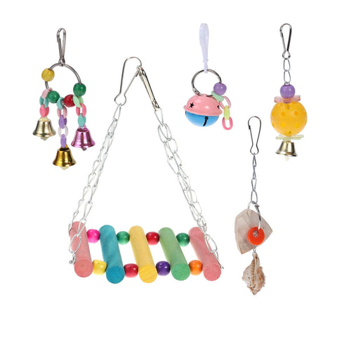 5Pcs Colorful Fancy Bells Strings Swing Cuttlebone Bird Parrot Chew Toys Bird Cage Hanging Ornament