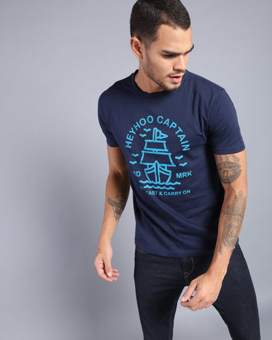 Printed Crew Neck T-shirt in Navy Blue