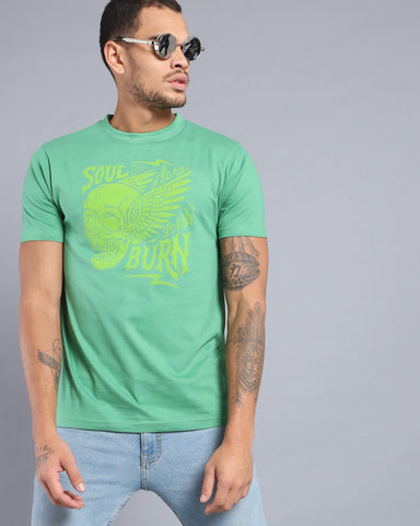 Printed Crew Neck T-shirt in Green